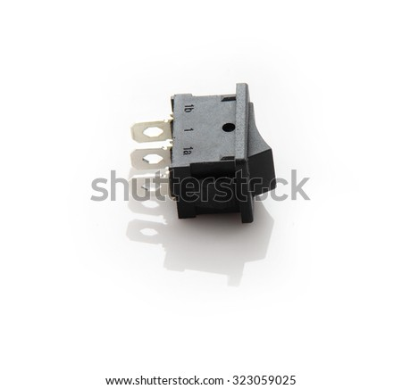 Black toggle switch on black surface - on off - stock photo