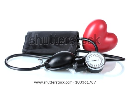Black tonometer and heart isolated on white - stock photo