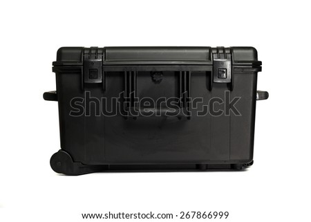 Black toolbox isolated on white background. - stock photo