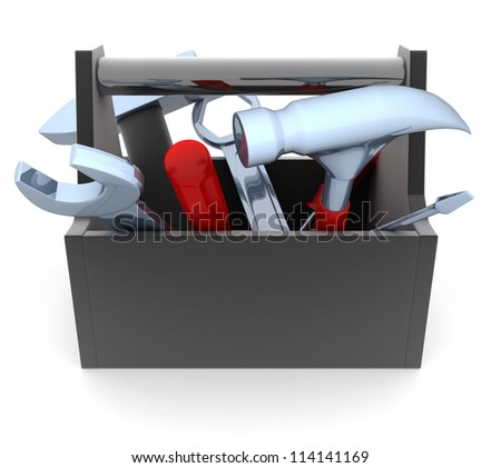 Black Toolbox on white background (done in 3d) - stock photo