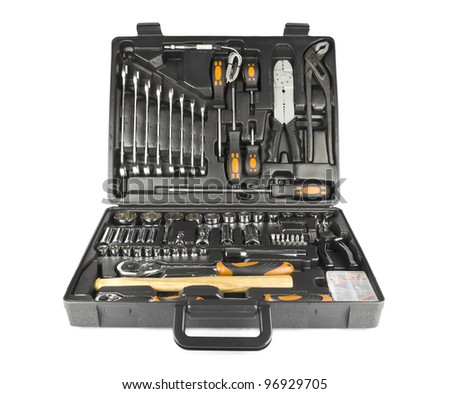 Black toolbox with different instruments isolated on white background