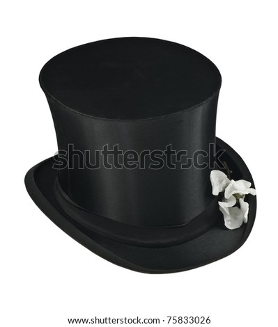 Black top hat and white magnolia flower isolated - stock photo