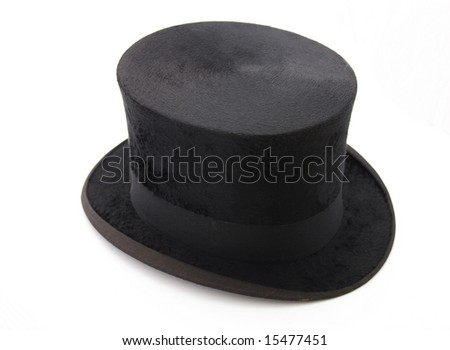black top hat isolated on white - stock photo