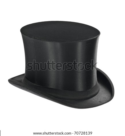 Black top hat isolated on white background - stock photo