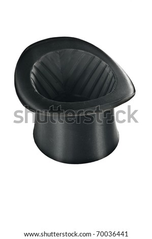 Black top hat on white background - isolated - stock photo