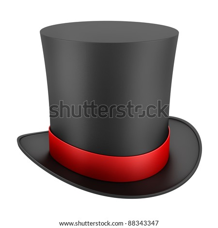 black top hat with red strip isolated on white background - stock photo