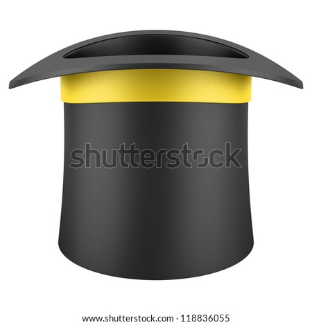 black top hat with yellow strip isolated on white background - stock photo