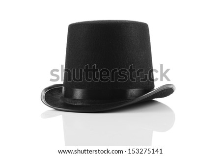 Black tophat top hat isolated on the white - stock photo