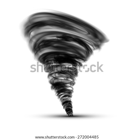 Black tornado isolated on a white background - stock photo