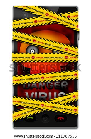 Black Touch Screen Smart Phone With Skull and Virus Alert Message on Screen Cover By Danger Mobile Phone Virus Caution Tape For Mobile Phone Virus Concept Isolated on White Background - stock photo