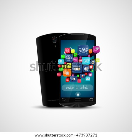 Black touch screen smartphone and application icon isolated on white background . 3D illustration