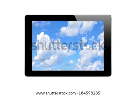 Black Touch Screen Tablet with Blue Sky isolated on white background