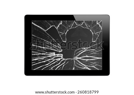 Black Touch Screen Tablet with broken screen isolated on white background - stock photo