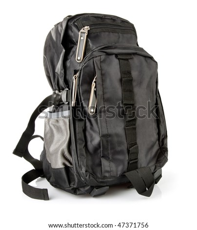 black tourist backpack isolated on white background