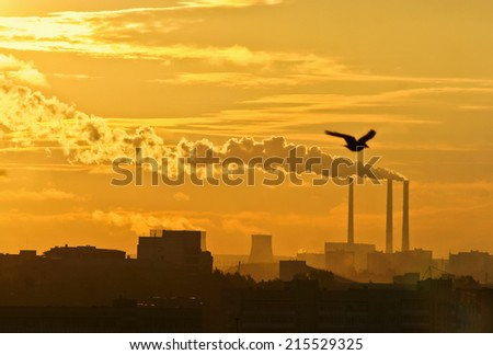 Black toxic smoke from chemical plants, sunset - stock photo