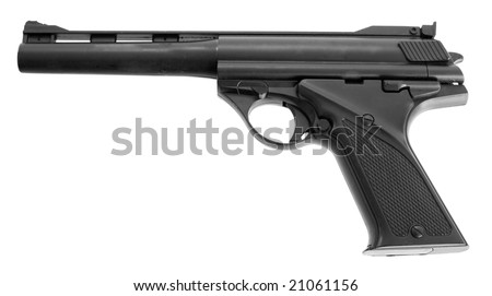 Black toy gun on the white background