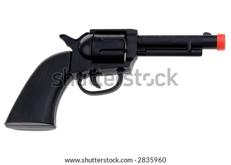 Black Toy hand gun with red tip isolated over white