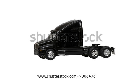 black toy truck isolated on white background - stock photo