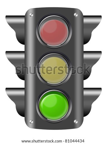 black traffic light on green isolated over white background. illustration