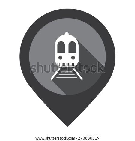 Black Train, Subway Station or Railway Station Map Pointer Icon Isolated on White Background  - stock photo