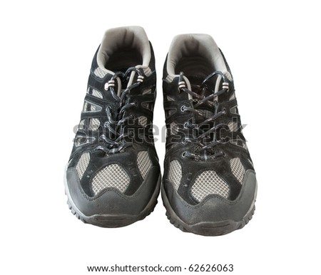 Black trainers isolated on white - stock photo