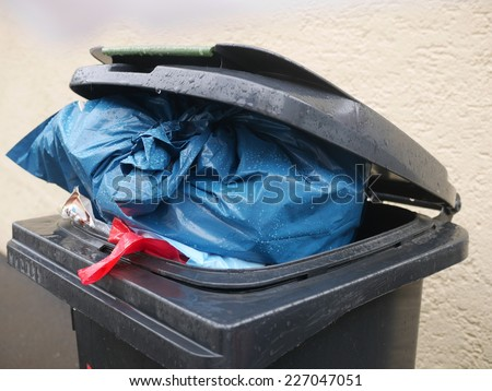 Black Trash on the street. - stock photo