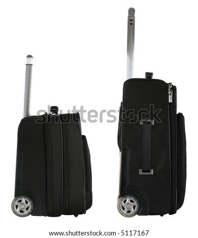 Black travel bag from side view