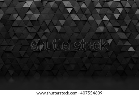 Black triangular abstract background, Grunge surface, 3d Rendering