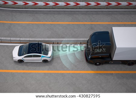 Black truck stopped on highway by automatic braking system. 3D rendering image.
