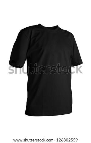 Black tshirt isolated on white background - stock photo