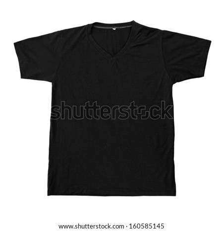 Black tshirt template ready for futher modification isolated on white with working path - stock photo