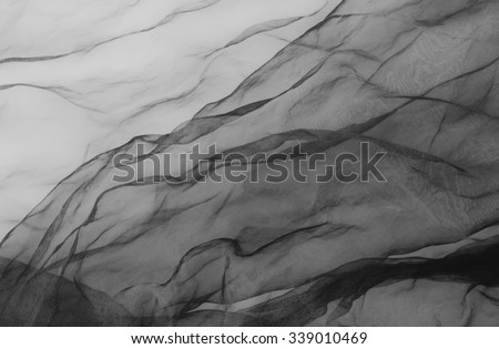 black tull - textile background - stock photo