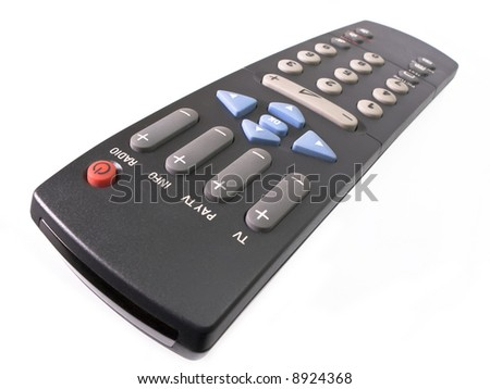 Black tv remote control isolated on white. - stock photo