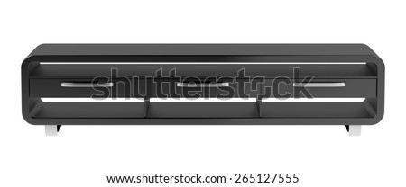 Black tv stand isolated on white background - stock photo