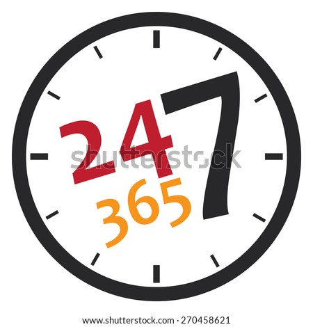 black 24 7 365, twenty four seven sticker, icon, label, banner, sign isolated on white  - stock photo