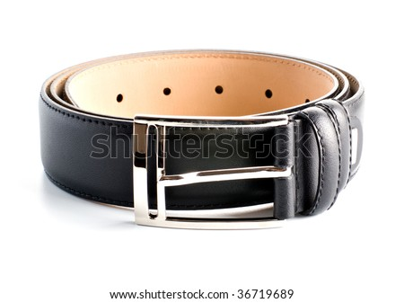 black twisted leather belt isolated on white background