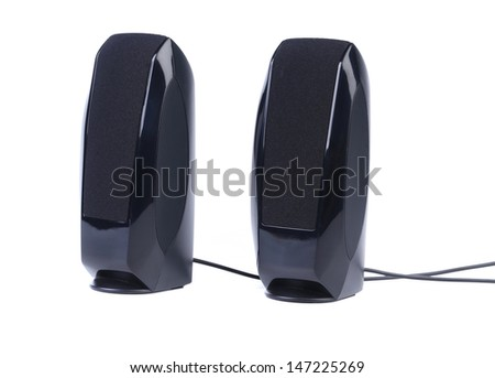Black two speaker - stock photo