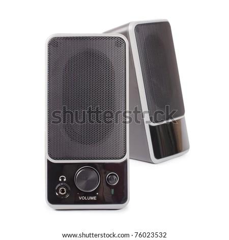 Black two speaker  isolated on white background - stock photo