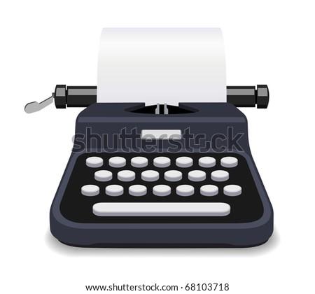 Black typewriter illustration - stock photo