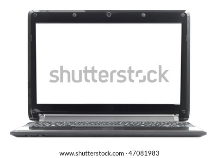 Black ultraportable notebook pc laptop isolated with clipping path over white - stock photo