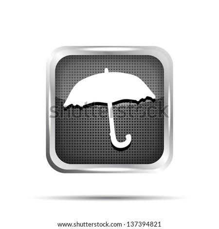 black umbrella icon on a white background - stock photo