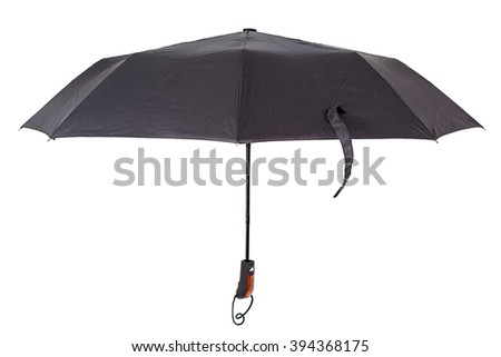 Black umbrella isolated on white background. - stock photo