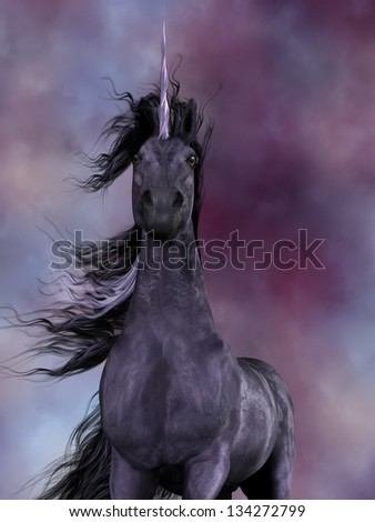 Black Unicorn - The Unicorn was a mythical creature which was a horse with a horn on its forehead and had amazing powers. - stock photo