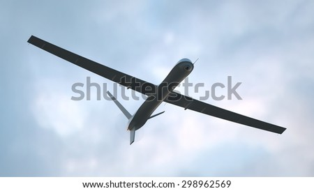 Black unmanned aerial vehicle (UAV) in the sky - stock photo