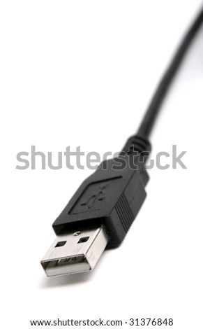 Black USB cable isolated on white.