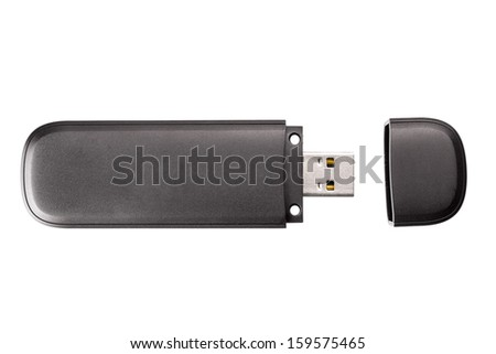 Black usb flash drive isolated on the white background - stock photo
