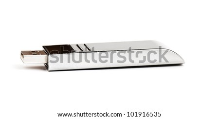 black usb memory isolated on a white background in studio - stock photo