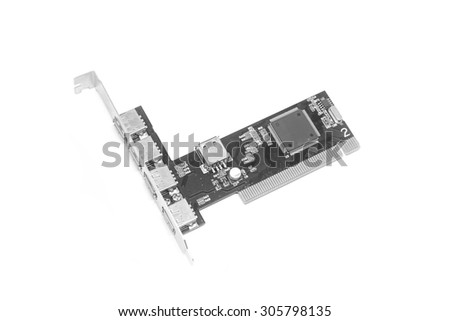 Black usb pci adapter card internal on white background