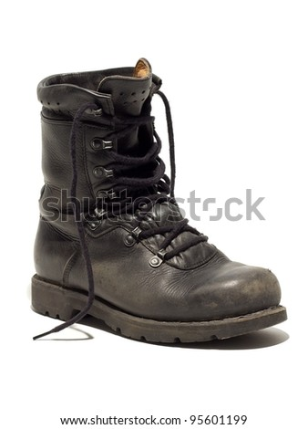 black used military boot