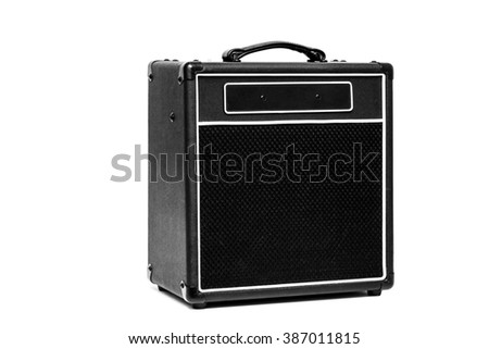 Black valve Guitar amplifier isolated on white  - stock photo